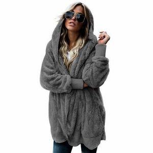 Oversized Charcoal Gray Fleece Hooded Cardigan